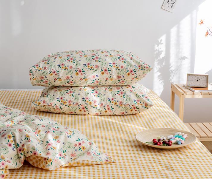 纯棉单品小清新印花田园风简约花卉碎花床上用品一对装全棉枕套