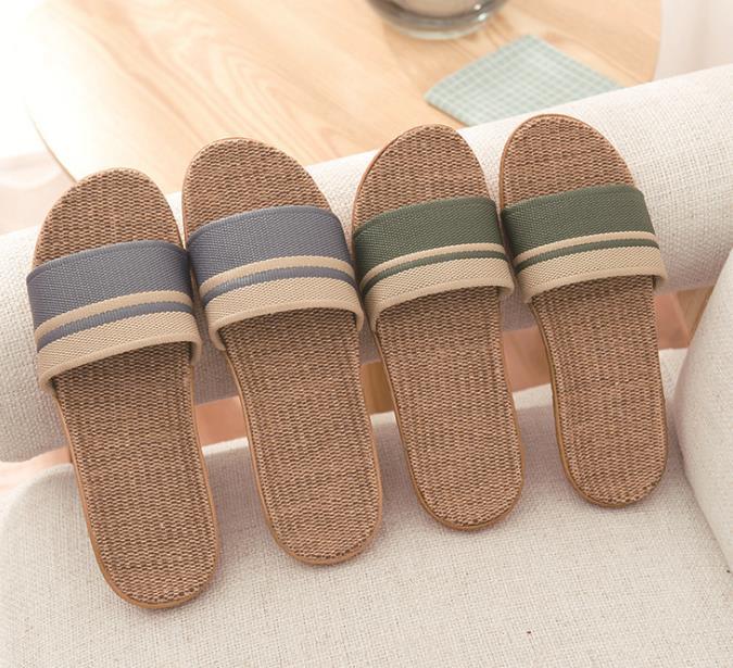 棉麻拖鞋黏胶亚麻四季条纹情侣男女盆底木地板室内居家拖鞋
