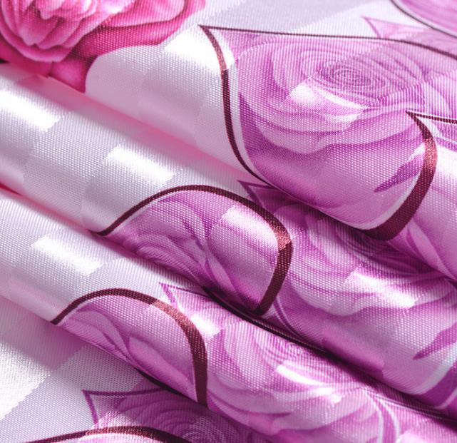 幸福玫瑰家居窗帘印花全涤面料 个性窗帘印花布定制