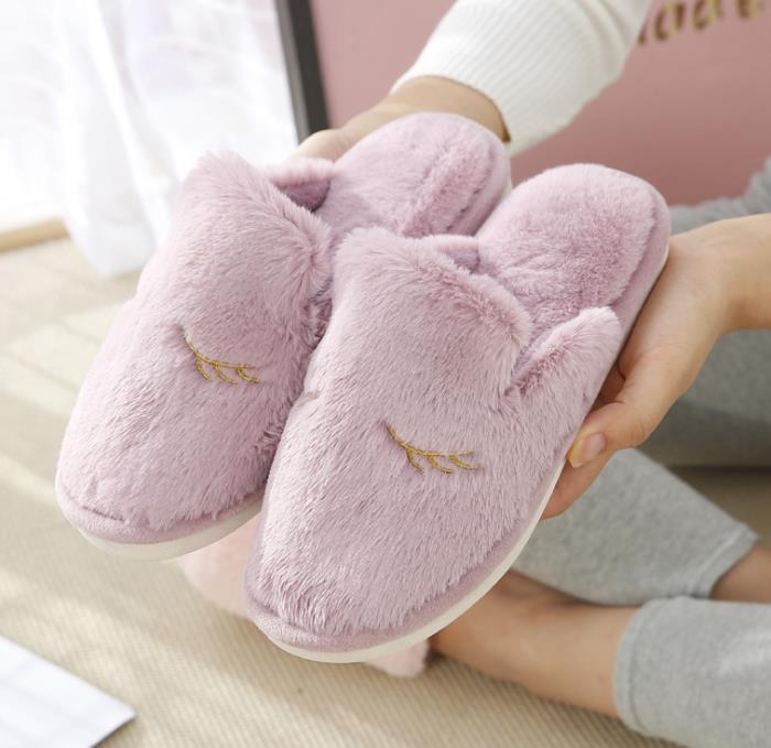 萌兔棉女冬季厚底韩版地板室内防滑居家情侣毛毛绒男拖鞋